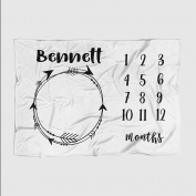 Month Milestone Baby Blanket - Pale Grey Arrows Wreath - Frame - 50 X 60 - Plush Fleece