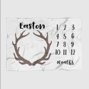 Month Milestone Baby Blanket - Pale Grey Deer Antler - Frame - 50 X 60 - Plush Fleece
