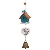 WLIFE Blue Bird Wooden House Landscape Garden Outdoor Home Kid Room Decor Wind Chime Bell