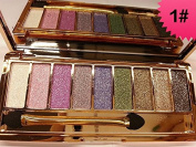 JGB 9 Colours Diamond Bright Colourful Makeup Eye Shadow Palette Set Flash Glitter Eyeshadow with Brush,Edition 1
