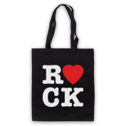 I Love Rock Slogan Tote Bag