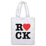 I Love Rock Slogan Tote Bag