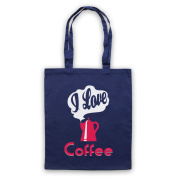I Love Coffee Slogan Tote Bag