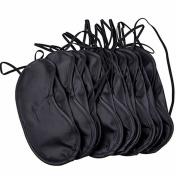 Polytree 10Pcs Travel Sleep Eye Mask Shade Cover Blindfold Black