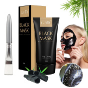 Blackhead Remover Mask, Peel off Purifying Acne Face Black Mask, Pore Mud Deep Cleanse Remover, Bamboo Charcoal Comedone Extractor 50ml by ELFINA