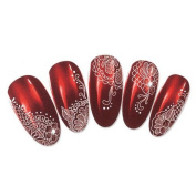 Nicedeco Beautiful & Fun & Colourful & Fashion Nail Stickers/Tattoo/Decal Water Transfer Stickers Classical White Floral Lace