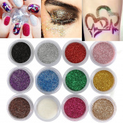 Nail Glitter,DANCINGNAIL 12 Pcs/Set Nail Glitter Dust Powder, Nail Art Tips Decoration Crafts Makeup Glitter DIY Body Decoration