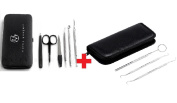 Blackheads and Pimples Remover Tools & Manicure Set + Tarter Scraper -Scaling Instrument, Toothpick & Oral Mouth Mirror BY MARKS GOUGER