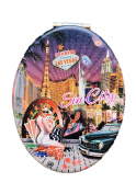 Las Vegas Sin City Compact Personal Travel Mirror 8.9cm x 6.4cm Oval