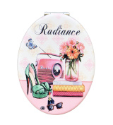 Radiance Vintage Themed Compact Personal Travel Mirror 8.9cm x 6.4cm Oval