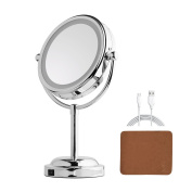 Double Sided Lighted Mirror - 15cm LED Makeup Mirror With Battery /USB Powered,3x Magnifying Vanity Mirror with Lights,Metal Mirror for Bathroom or Bedroom Countertop, Desk Mirror with 360°Rotation
