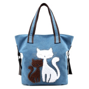 ELEOPTION Cotton Canvas Tote Bag Casual Style Shoulder Bag With Cartoon Cat Printing as Dual-use Messenger Bag Purse for Women Girls Students