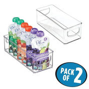 mDesign Baby Food Organiser Bin for Breast Milk Storage Bags/Formula - Pack of 2, 25cm x 10cm x 7.6cm Each, Clear