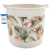 Jacone Cotton Rope Basket with Beautiful Flowers Pattern,Decorative Storage Basket for Nursery with Handles,31cm by 31cm