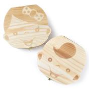 Eteng Baby Tooth Storage Keepsake Box Wooden Milk Teeth Saver for kids Boy & Girl