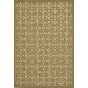 Safavieh Courtyard Collection CY6564-24 Green and Cream Indoor/ Outdoor Area Rug