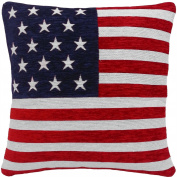 STARS AND STRIPES AMERICAN FLAG CHENILLE RED WHITE BLUE 46cm THICK CUSHION COVER PILLOW CASE SHAM