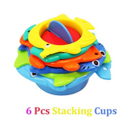 Baby Bath Time Stacking Cups Set- Best Educational Bath Toy for Kids Sea Animals stacking toys