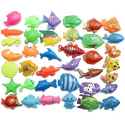 20 Pieces Bath Toys Magnetic Fishing Toys Accessories Plastic Fish 7-11 cm Children's Educational Toys