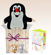 Warmies Gift Set The Little Mole, Genuine Pig Microwaveable Heat Cushion with Lavender Scent and Elegant Gift Pack + Booklet with exciting Children's Hichten