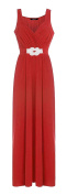 Womens Snake Diamante Buckle Maxi Ladies Full Length Sleeveless Party Dress