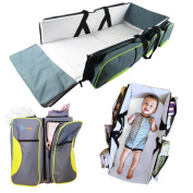 Travel Bassinet - 3 in 1 Portable Changing Station, Travel Crib, & Nappy Bag | Bonus Bed Sheet & Stroller Attachment | Perfect Travel Bassinets for Babies & Travel Accessory
