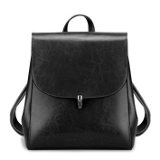S-ZONE Women s Oil Wax Leather Genuine Leather Shoulder Bag Black