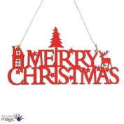 Wooden Red Traditional House Merry Christmas Reindeer Hanging Decoration Sign