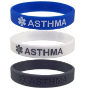 3 Pack - ASTHMA Medical Alert ID Silicone Bracelet Wristbands