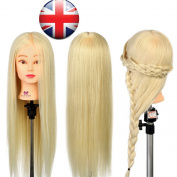 Uk 70cm 30% Real Hair Practise Training Head Hairdressing Mannequin Doll + Clamp