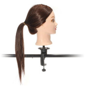 60% Real Hairdressing Brown Hair Training Head Mannequin Head With Clamp 60cm