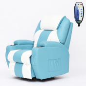 Foxhunter Bonded Leather Massage Sofa Recliner Rocking Heat Turquoise White