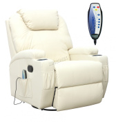 Foxhunter Bonded Leather Sofa Massage Recliner Chair Swivel Rocking Heating New