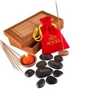 Spa Hot Rocks Pack Relaxing Stone Massage Therapy Scented Candle & Incense