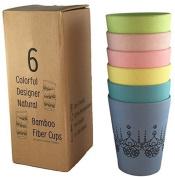 Unique Designer Cups (6) For Hot/cold Liquids. Colourful Natural Bamboo Fibre.