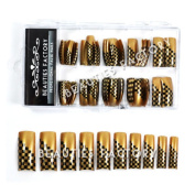 Airbrushed French Nail Tips (70pcs) Black Grids On #e02nails