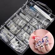 3d Manicure Nails Art French Acrylic Aquarium Liquid Clear Fake Nail Tips 100