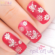 61 White 3d Flower & Butterfly Adhesive Nail Art Stickers Decals Decorations