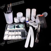 Full Set Professional Nail Art Acrylic Powder Tips Combo Uv Gel Decoration Kit