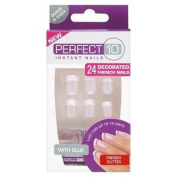 Perfect 10 Decorated French Artificial Nails - French Glitter