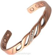 Magnetic Bracelet Ladies Mens Bangle Copper With Diamante Bio Arthritis Cuff