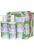 Orla Kiely Sage Lavender Hand & Body Kit Shower Gel, Body Milk, Hand Balm