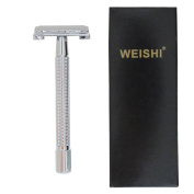 Weishi Chrome Long Handle Version Heavy Weight Butterfly Open Double Edge Safety