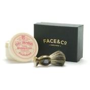 Geo F Trumper Horn, Pure Badger Shaving Brush & Limes Shave Cream Set