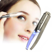 9cm,led Light Tweezer Stainless Steel Eyebrows Eyelashes Pluck Hair Removal Clip