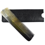 Parker Safety Razor Hand Made Real Ox Horn Pocket Comb & Leather Case