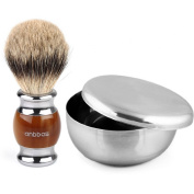 Anbbas Super Badger Brush And Shaving Bowl Stainless Steel 2 In 1 Shaving Set Gi