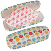 Dotcomgiftshop Mid Century Poppy Design Hardshell Glasses Case & Cleaning Cloth