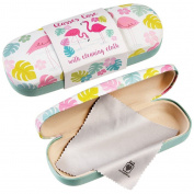 Dotcomgiftshop Flamingo Bay Design Hardshell Glasses Case & Cleaning Cloth