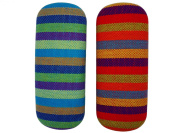 Mexican Weaved Colourful Protective Hard Glasses Case Blue